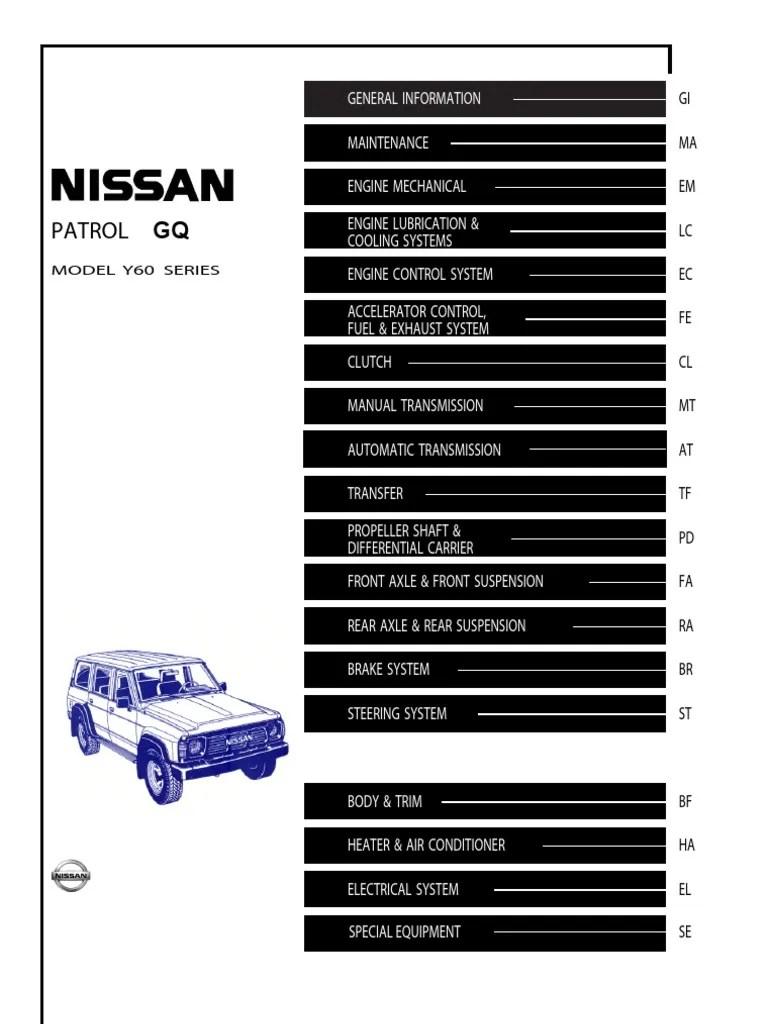 hight resolution of nissan patrol gq fuse box diagram schema diagram databasegq patrol service manual y60 motor oil manual