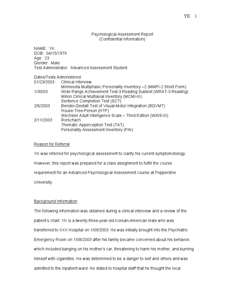 Report of psychological assessment Term paper Academic Service ...