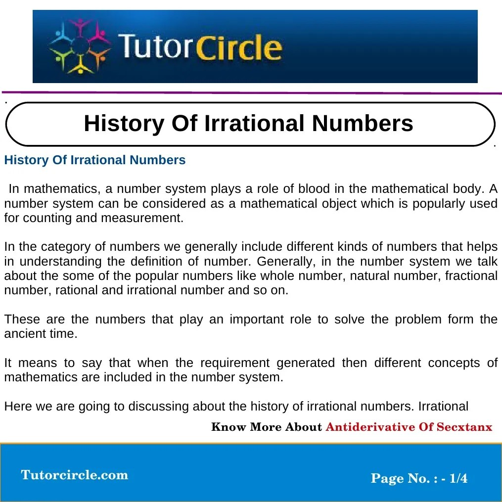 small resolution of History of Irrational Numbers   Numbers   Pi