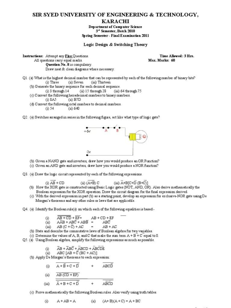 sir syed university of engineering technology karachi ldst final exam 2011 batch 2010 boolean algebra logic [ 768 x 1024 Pixel ]