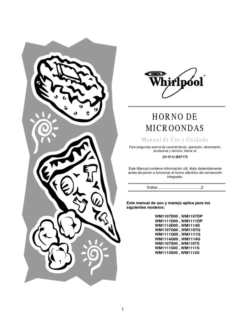 Manual Horno Microondas Whirpool WM-1111DP