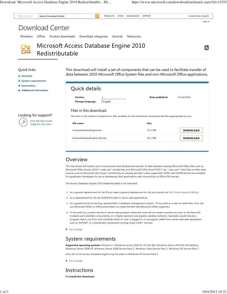 Download_ Microsoft Access Database Engine 2010 Redistributable - Microsoft Download Center - Download Details | Microsoft Access | Microsoft Excel