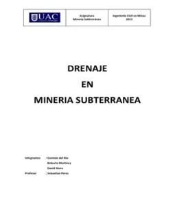 Drenaje Mineria Subterranea