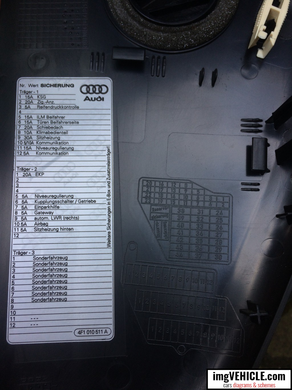 hight resolution of audi a6 c6 fuse box dash panel diagram 2