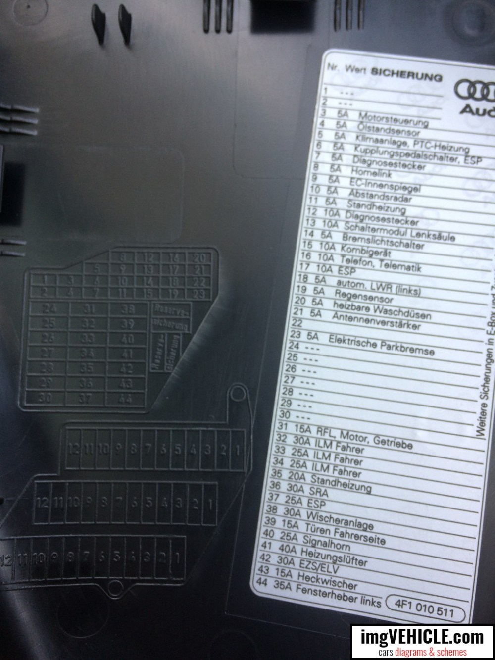 medium resolution of audi a6 c6 fuse box dash panel diagram