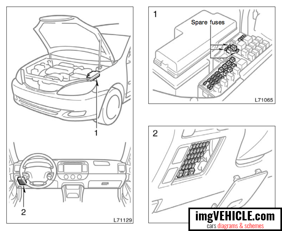 Toyota Camry XV30 (2002-2006) Fuse box diagrams & schemes