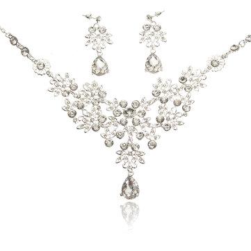 Luxury Jewelry Set Rhinestone Crystal Flower Earrings Ring