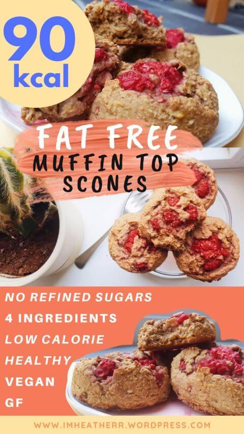 Fat Free 90 Calorie Muffin Top Scones Vegan & Gluten Free, Eggless, Butterless, No sugar, sugar free