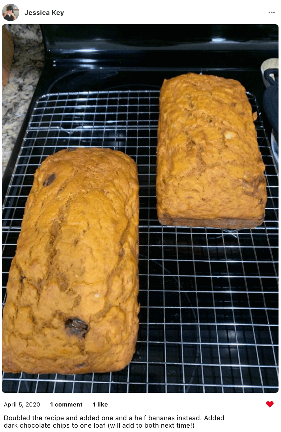 2 loaves of low fat and healthy pumpkin banana bread with chocolate chips