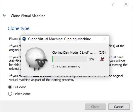 Full clone opcija i proces kloniranja.