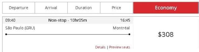 Print Screen do Site da Air Canada com um voo de São Paulo à Montreal