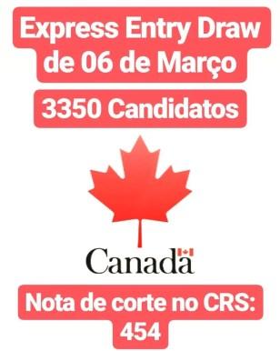 Express Entry Draw de 6 de Março. Imigração Federal para o Canadá