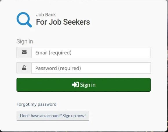 Criando conta no Job Bank