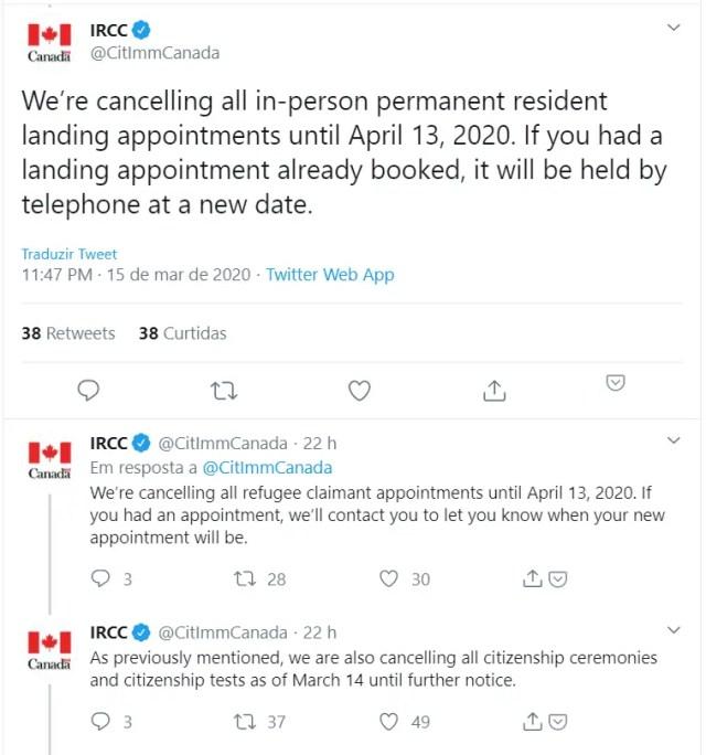 IRCC cancela tudo por conta do fechamento da fronteira
