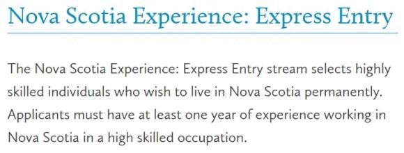 Nova Scotia Experience: Express Entry