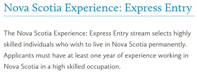 Nova Scotia Experience: Express Entry
