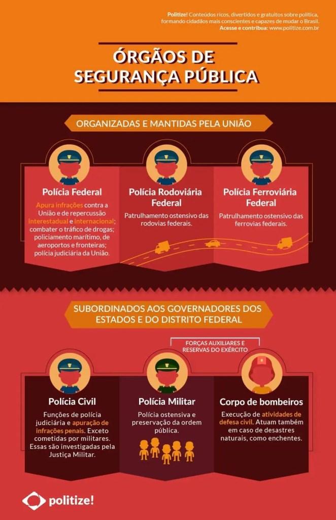 Infográfico da polícia brasileira; Polícia federal, Militar e policial civil. Vamos comparar com a polícia canadense.