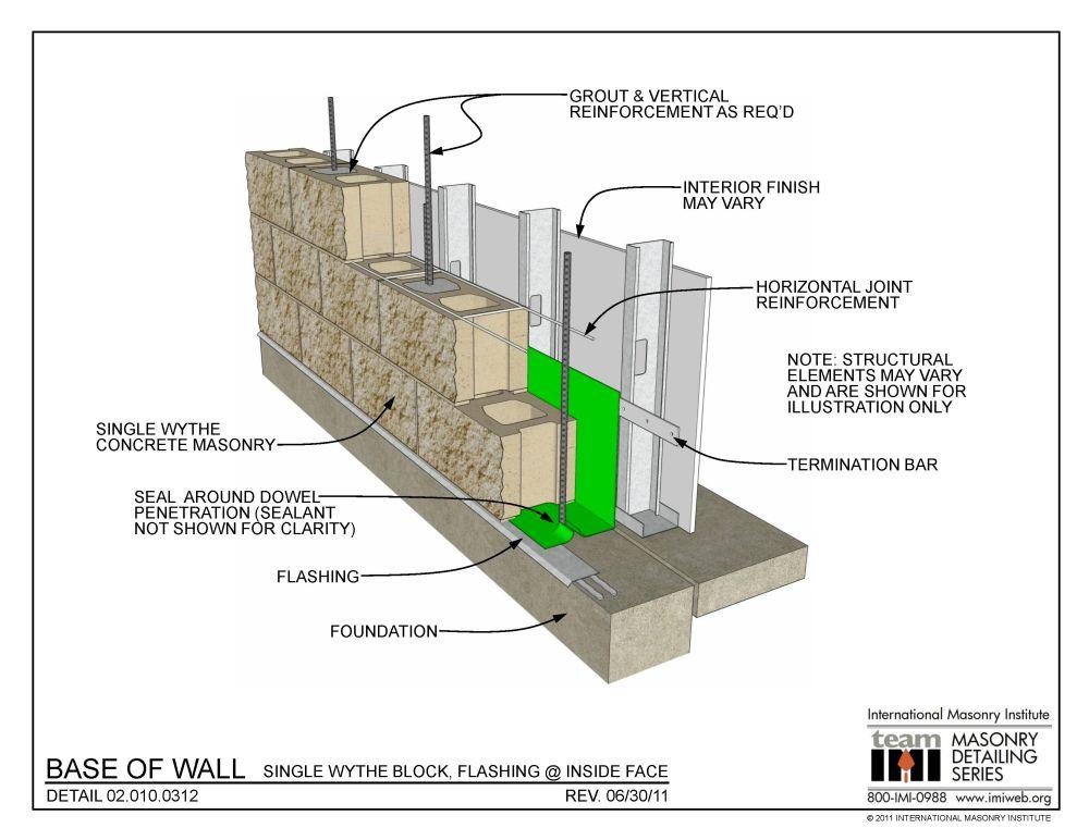 medium resolution of 02 010 0312 base of wall single wythe block flashing at inside face