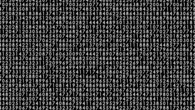 random numbers white code on black screen