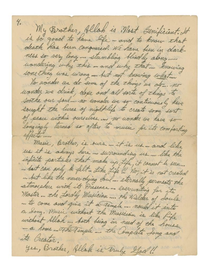 Malcolm X Letter re Jazz and Sonny Stitt 4