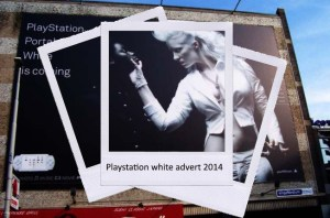playstation white advert 2014, white woman squeezing a black woman's jaw