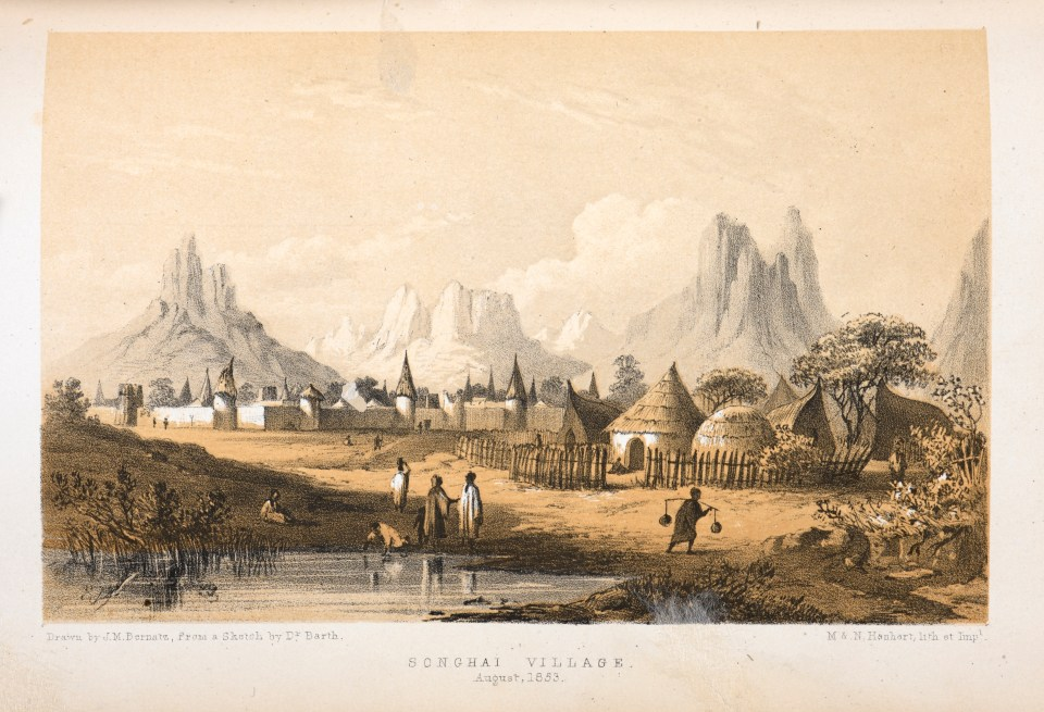 Songhai village sketched by a European