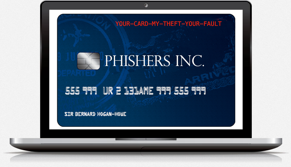 the screen of a laptop with a bank card from the bank of phishing | www.imjussayin.com