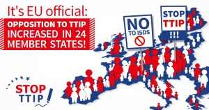 A map of EU indicating the people fighting against TTIP | www,.imjussayin.com
