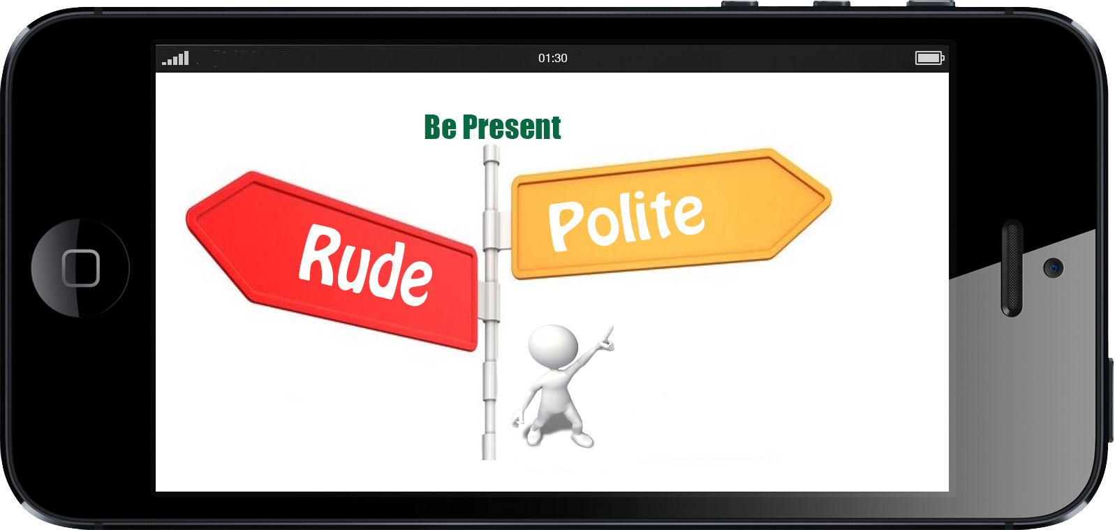 a sign post with rude on one side and polite on the other. A person points to the polite notice | Modern Manners13 | www.imjussayin.com