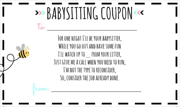 baby sitting coupon - precious gift | www.imjussayin.com