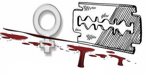 FGM A razor blade cutting a thin line and the top of a symbol of woman | wwwlimjussayin.com