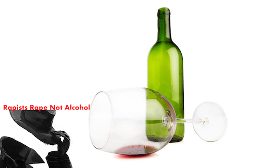 Rape shadowy figure in a hat empty wine glass and bottle | www.imjussayin.com