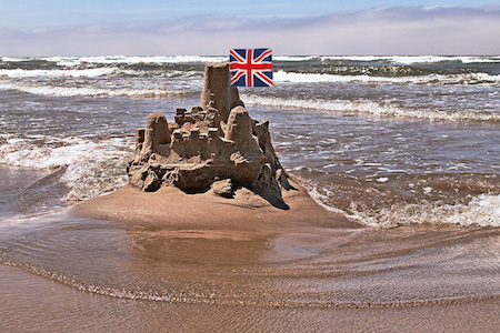 brexit sandcastle with British flag | www.imjussayin.com