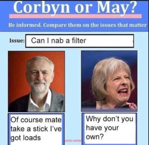 election meme corbyn v may one offering a filter may asking why the person does not have their own | www.imjussayin.com