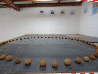 Small Dung Ball Circle installation and hand-coloured photographs in background