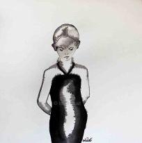 Shy Girl Ink on paper, 20x20cm by Imke Rust