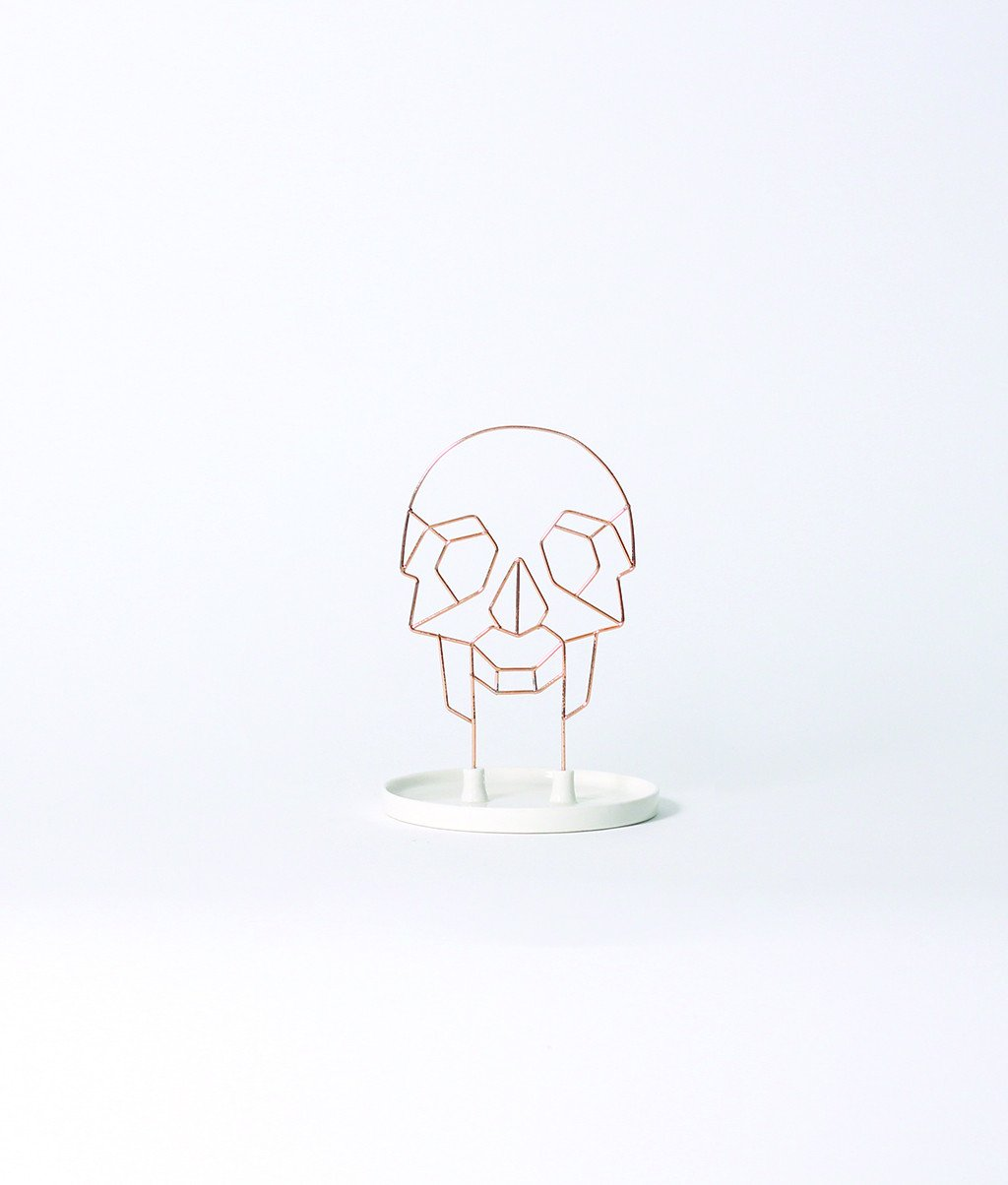 Coxet Wire Skull Ceramic Jewelry Holder - Imm Living