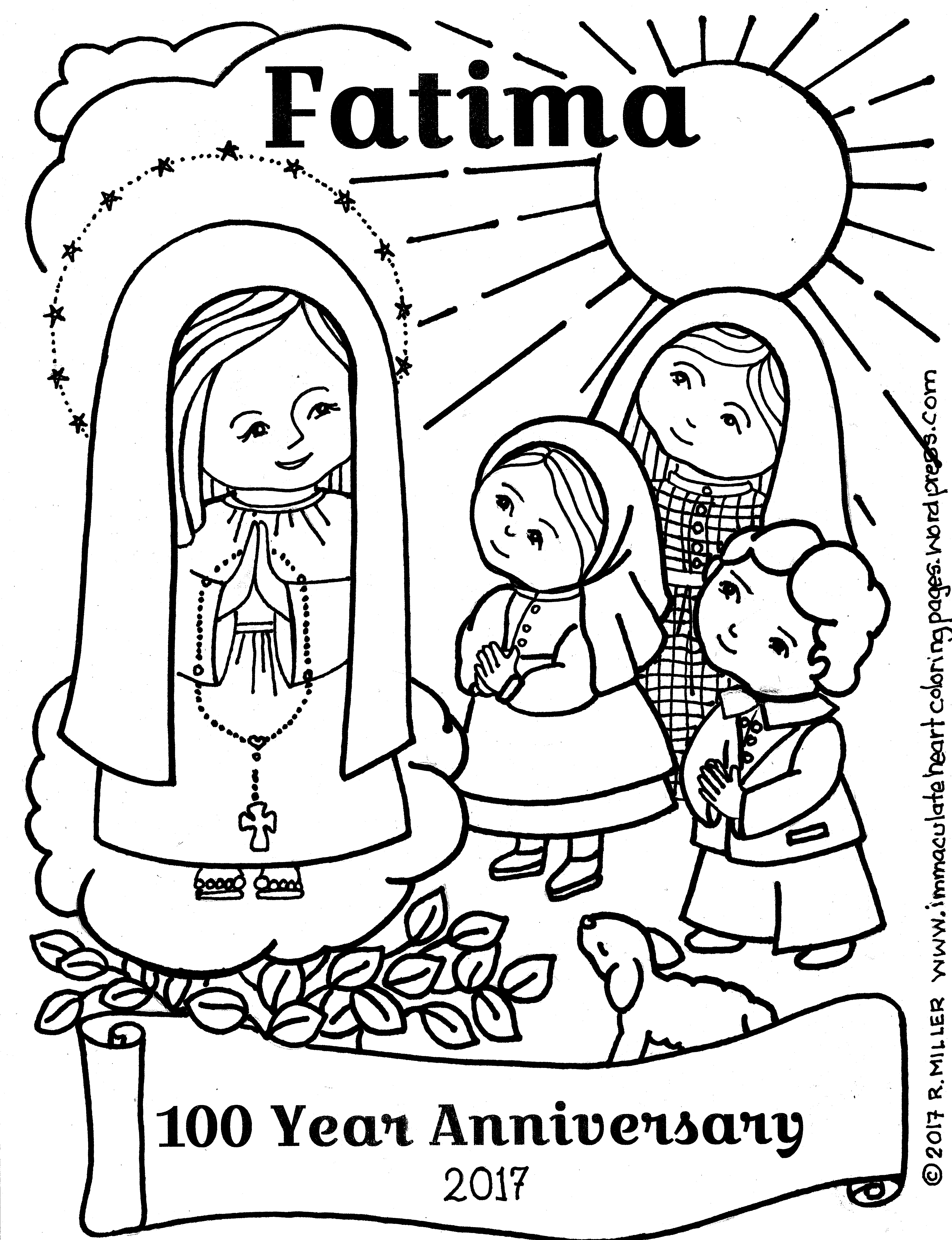 Fatima 100 Year Anniversary Coloring Page Immaculate Heart Coloring Pages