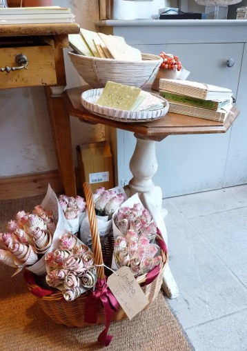 shop display with paper roses