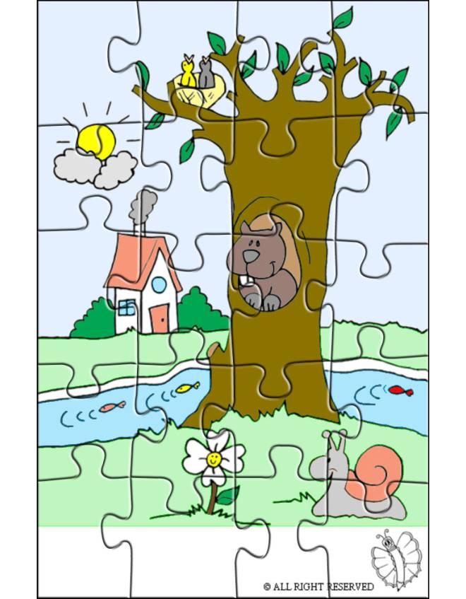 Disegno di Puzzle di Paesaggio Naturale a colori per bambini  disegnidacolorareonlinecom