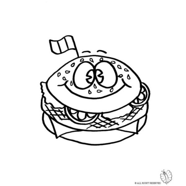 Disegno Di Panino Hamburger Da Colorare Per Bambini