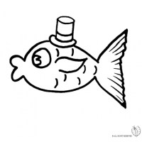 Disegno di Pesce con Cappello da colorare per bambini