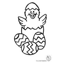 Disegno di Uova di Pasqua con Pulcino da colorare per