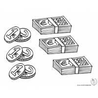 Disegno di Banconote e Monete da colorare per bambini