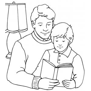 Disegno di Padre e Figlio da colorare per bambini gratis