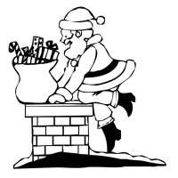 Disegno di Babbo Natale nel Camino da colorare per bambini ...