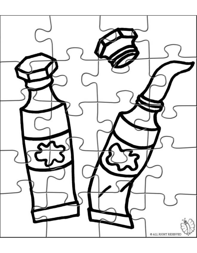 Disegno di Puzzle di Tempere da colorare per bambini