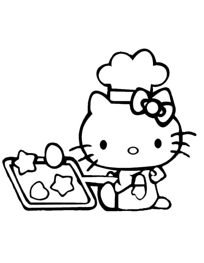 Disegno di Hello Kitty in Cucina da colorare per bambini  disegnidacolorareonlinecom