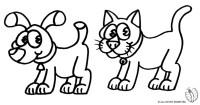 Stampa disegno di Cane e Gatto da colorare