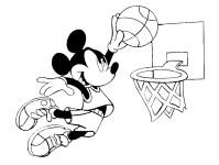 Stampa disegno di Topolino e il Basket da colorare